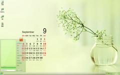 小清新花瓶9月日历Win7主题