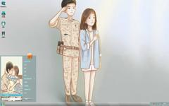 太阳的后裔Q版剧照Win7主题